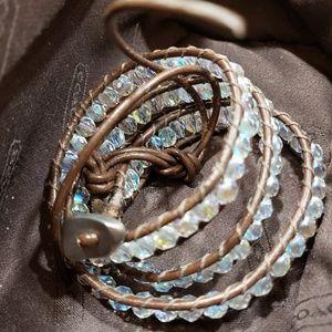 Hand stitched wrap around bracelet